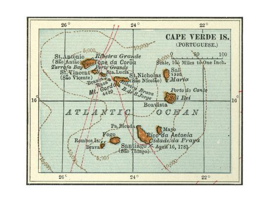 Inset Map of Cape Verde Islands (Portuguese) Giclee Print by ...