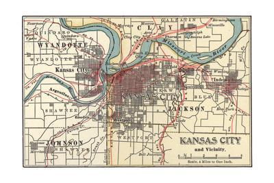 Map of Kansas City (C. 1900), Maps Giclee Print by Encyclopaedia ...