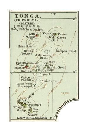 Inset Map of Tonga (Friendly Islands) (British)