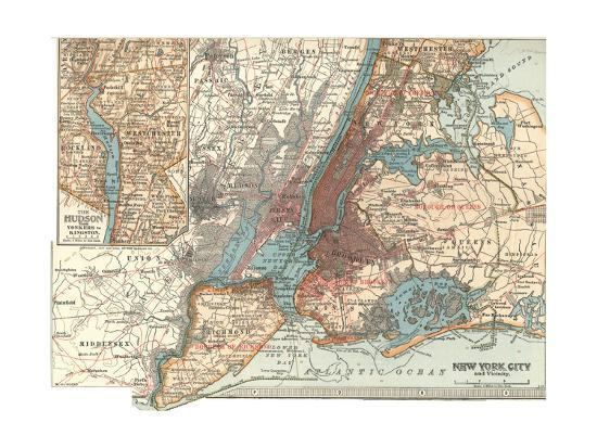 1900 Map Of The World.Map Of New York City C 1900 Maps Giclee Print By Encyclopaedia