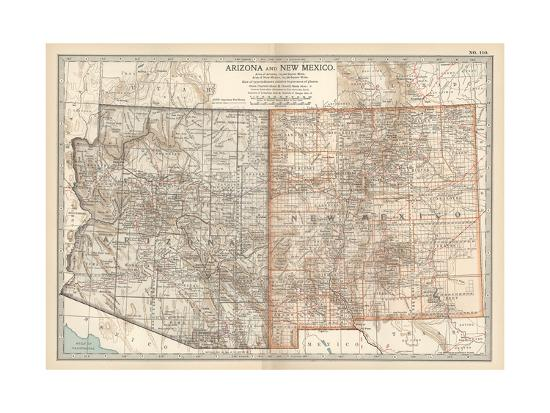 Map of Arizona and New Mexico. United States Giclee Print by ...