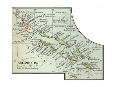 Inset Map of Solomon Islands. Bougainville. South Pacific