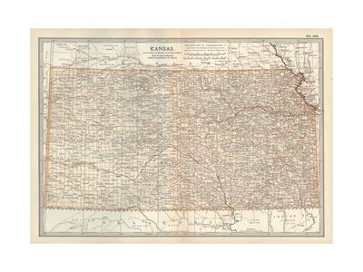 Plate 105. Map of Kansas. United States