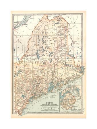 Map of Maine, United States. Inset of Mount Desert Island