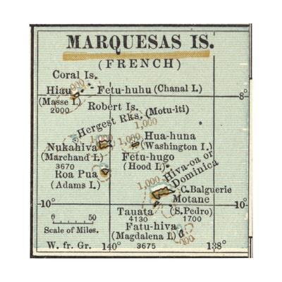 Inset Map of Marquesas Islands (French). Oceania. South Pacific