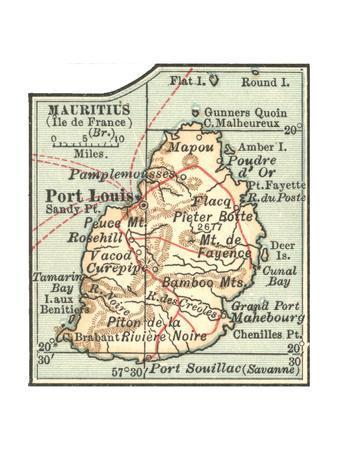 Inset Map of Mauritius (Ile De France) (British)