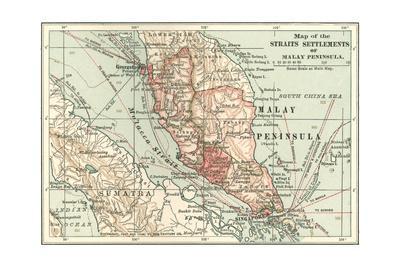 Inset Map of the Straits Settlements of Malay Peninsula; Part of Sumatra. Singapore