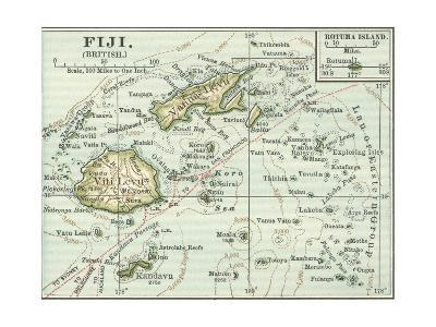 Inset Map of Fiji Islands (British). South Pacific. Oceania