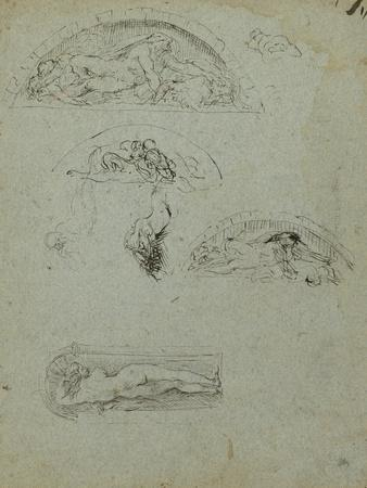 Standing Figure in a Niche and Studies for the Ugolino Group, 1857-58