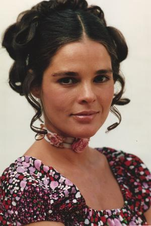 Ali MacGraw in Floral Dress With White Background