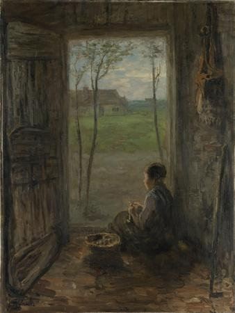 A Girl Sits in the Doorway of a House to Peel Potatoes