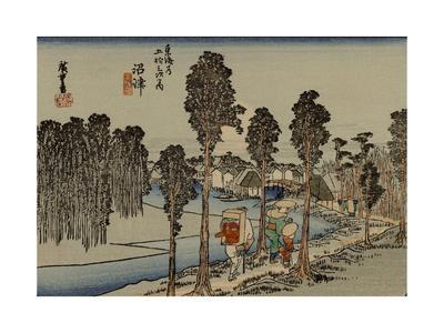 Travelers Walking Along a River, the Back Wearing a Red Tengu Mask on the Back