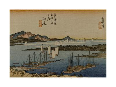 The Port at the Mouth of the River Okitsu, with Sail Boats in the Distance