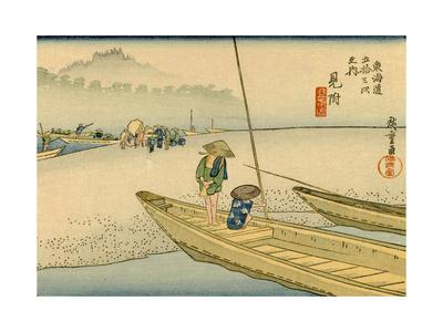 A Boat with Two Men Lay on a Headland, Travelers in the Distance Change to Another Boat