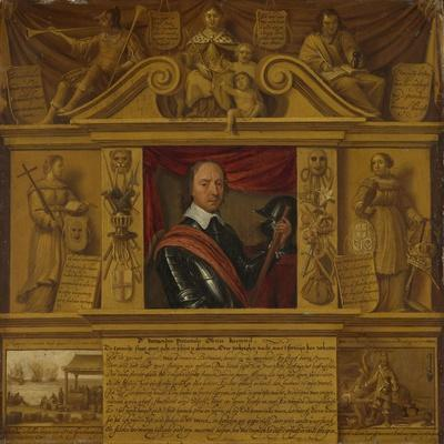 Portrait of Oliver Cromwell, in a Frame with Allegorical Figures and Historical Representations