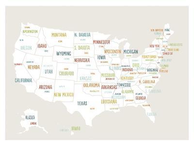 Beige USA Map
