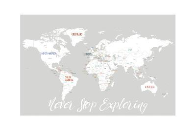 Never Stop Exploring Map in Light Grey