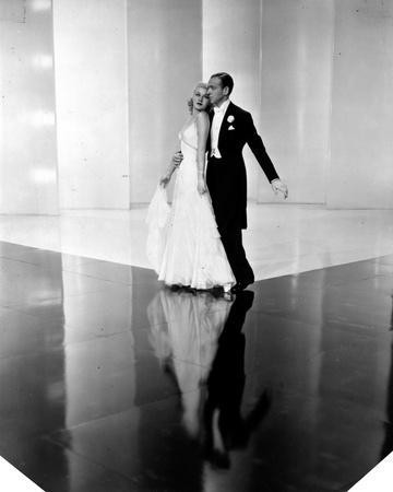 Fred Astaire and Ginger Rogers Dancing on Floor with their Reflection