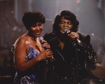 Aretha Franklin Duet in Glitter Dress Candid Photo