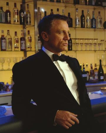 Daniel Craig Leaning in Black Tuxedo