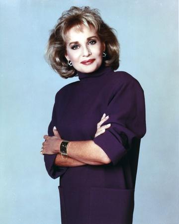 Barbara Walters Portrait in Violet Dress