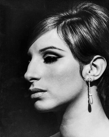 Barbra Streisand Close Up Portrait With Black Background with Hook Earrings
