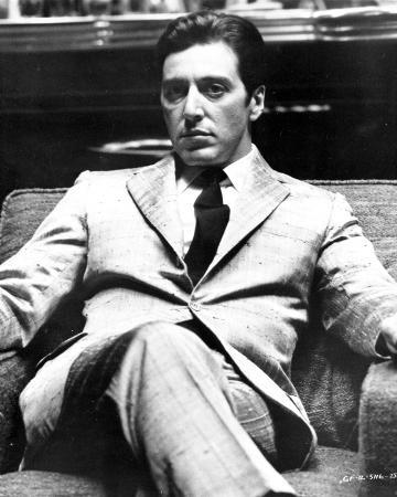 Al Pacino sitting on a Chair, Cross Legs Pose in Formal Outfit Black and White