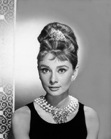 Audrey Hepburn Portrait in Black Top with Pearl Necklace and Diamond Crown