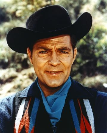 Dale Robertson Close Up Portrait wearing Black Hat and Denim Jacket with Scarf