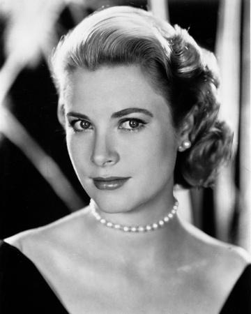 Grace Kelly Curly Hair, Red lipstick wearing Black Gown Portrait