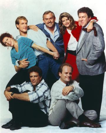 Cheers Cast Posed Together with Two Men sitting and Five People standing