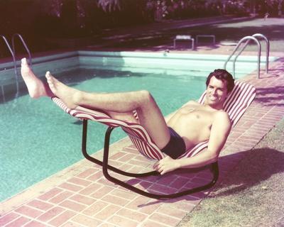 Fernando Lamas in Swimming Trunks at the Pool