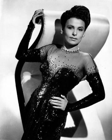 Black and White Portrait of Lena Horne in Black Gown