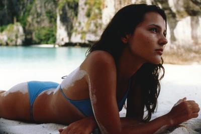 Virginie Ledoyen in Blue Swimsuit