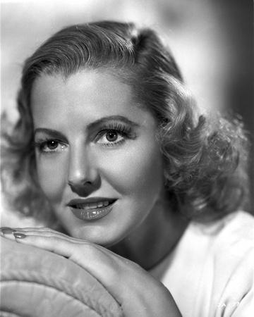 Jean Arthur on White Top Leaning Chin on Hand Portrait