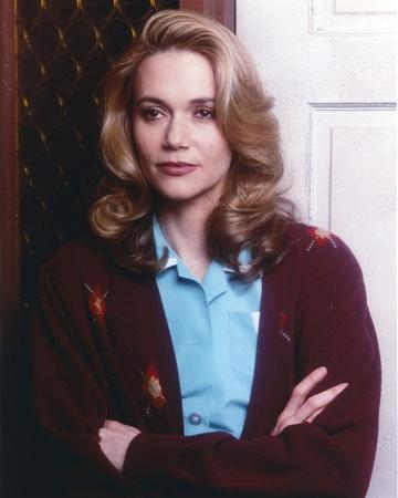 Peggy Lipton Posed with Arms Crossed in Lightblue Polo with Coat Portrait