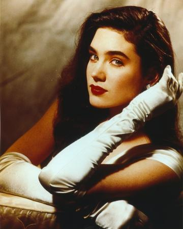 Jennifer Connelly Portrait in White Gown with Gloves