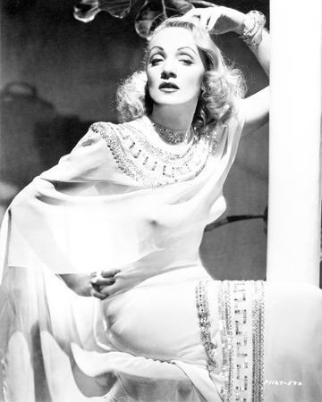 Marlene Dietrich Posed in White Dress with Bracelet