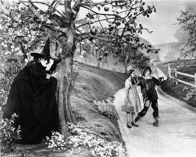 Wizard Of Oz Witch Waiting for Couple in Black and White