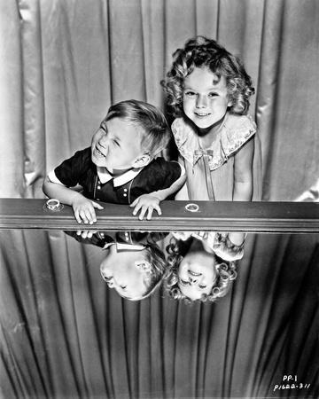 Shirley Temple in Dress with Girl in White Collared Black Dress