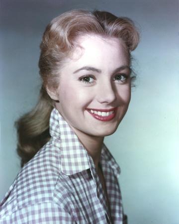 Shirley Jones Close Up Portrait in White Gingham Collar Shirt