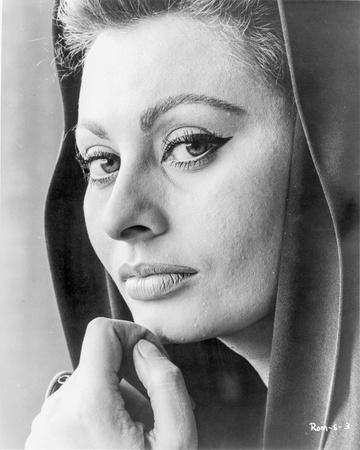 Sophia Loren wearing a Hood in a Close Up Portrait