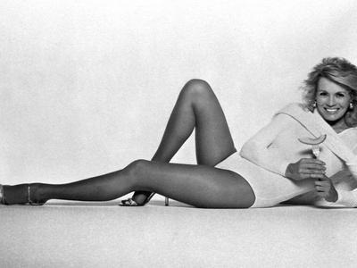 Angie Dickinson Lying on Floor in Lingerie