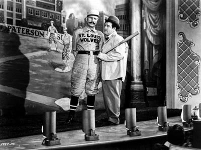 Abbott & Costello Posed Holding a Baseball Bat