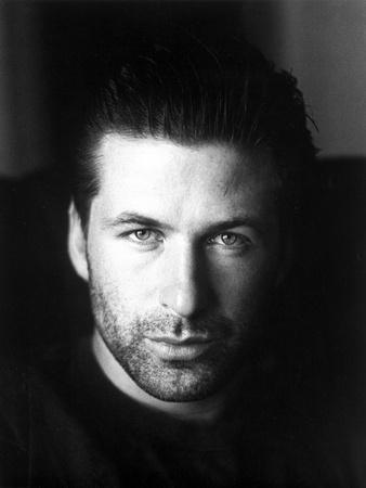 Alec Baldwin Looking Serious in Portrait in Black and White