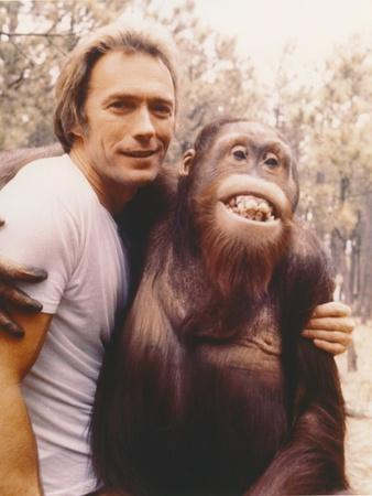 Clint Eastwood in White Shirt with Monkey