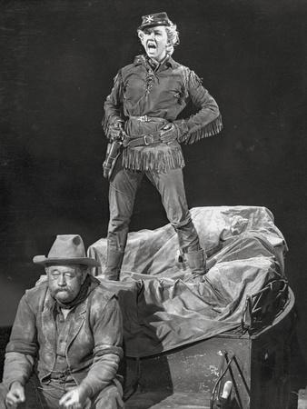 Calamity Jane standing Man and sitting Man in Black and White