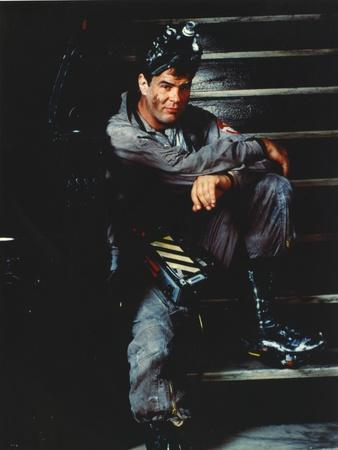 Dan Aykroyd Siting on Stairs in Classic Picture