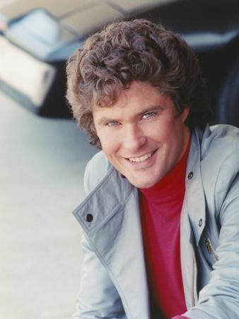 David Hasselhoff smiling in Grey Coat