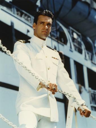 David James Elliott standing in Navy uniform